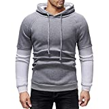 Zolimx Herren Kontrastierter Pullover mit Kapuze Herbst Winter Mode Lässig Patchwork Kapuzenpulli Jacke Gefälschte Zwei Sweatshirt Tops