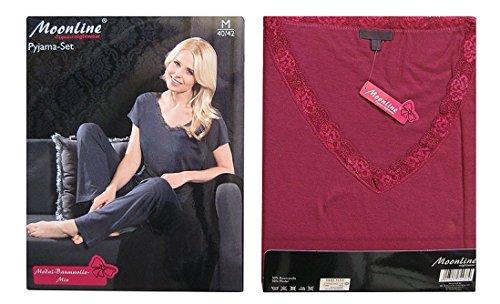 Moonline bequemer und moderner Schlafanzug mit luxuriösem Modal, Öko-Tex Bordeaux