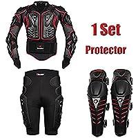 AKAUFENG Motorrad Protektorenjacke mit Getriebe Kurzen Hosen + Knieprotektoren Protektorenhemd Motorrad S-5XL