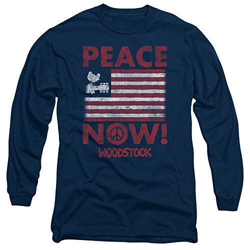 Woodstock - Herren Peace Now Langarm-T-Shirt Navy