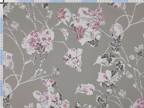 Tessuto da tappezzeria, rivestimento in tessuto, tessuto da tappezzeria, tessuto, tessuto della tenda, tessuto - Bella Vista, grigio-beige - moderna stampa con arredi originali di fiori di