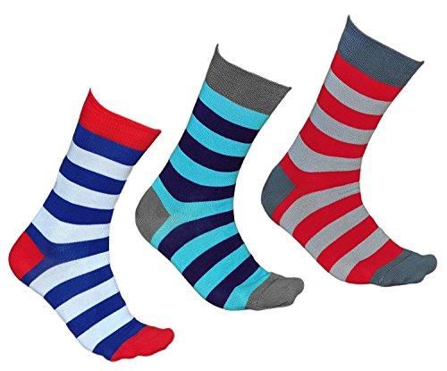 vitsocks Gestreifte Socken für Herren, GEKÄMMTE NATUR BAUMWOLLE, JOY (43-46, 3er Set - Blau/Weiß, Blau/Türkis, Rot/Grau)