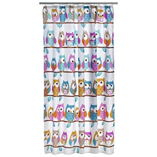 axentia Owl Shower Curtain, Multi-colour Hanging Bath Curtain for Shower and Bathtub, Waterproof Polyester Bathroom Curtain with 12 Rings, approx. 180 x 200 cm