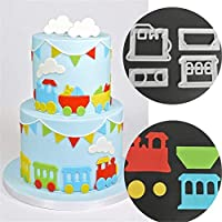4pcs Plastic Train Shape Modeling Fondant Cake Chocolate Cake Cookie DIY Dessert Cutter Mold Baking Tool Figurines