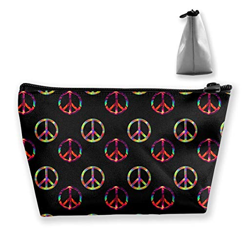 Psychedelic Peace Sign Pattern Toiletry Bag Womens Travel Cosmetic Bags Lightweight Waterproof Case