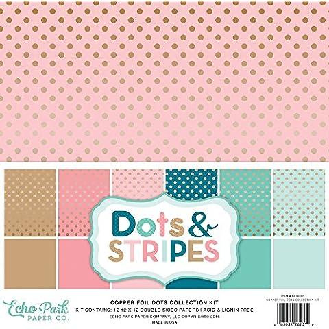 Echo Park Paper Echo Park Kit de papel para manualidades (30,4x 12-inch-dots y rayas con lámina de cobre, otros, multicolor