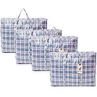 Lot de 6 grands sacs à fermeture éclair réutilisables pour linge/shopping/rangement.