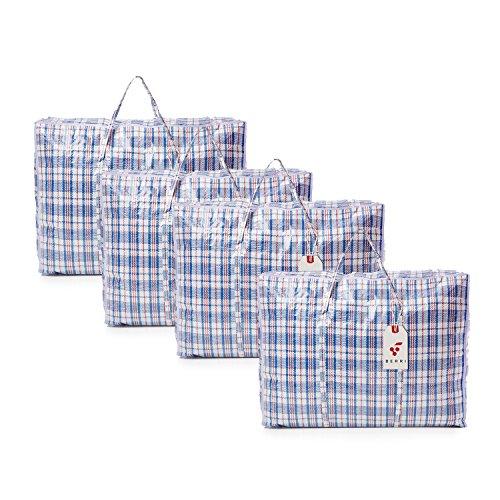 Berri 4 X grands sacs à provisions de stockage de blanchisserie avec fermeture à glissière - REUTILISABLE/NOUVEAU (couleur assortie)