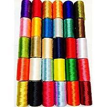 30 bobinas de seda para máquina de coser, hilo de bordar Brother Singer Top colores