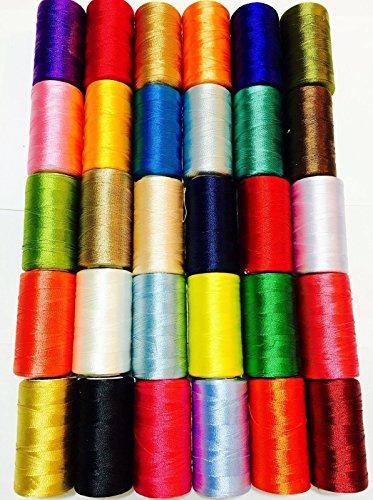 VICO 30 Spulen für Nähmaschine, Seide, Kunst Stickgarn -