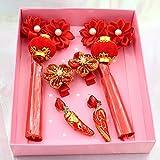 Hanfu Kopfschmuck chinesischen alten Quaste Haarnadel Neujahr Geschenkbox Set Mädchen Haarball Kinder Cheongsam Tang Anzug, Laterne rot A