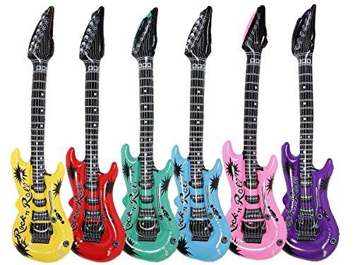 Lot de 12 Guitares gonflables Rock n Roll ALSINO environ 100 cm de qualité supérieure Amusante et origninale, cette guitare est aussi bien adaptée aux adultes qu'aux enfants Cet accessoire sera idéal pour compléter un costume de chanteur et mettre de l'ambiance Vous vous sentez d'animer une soirée à la grandeur de votre guitare