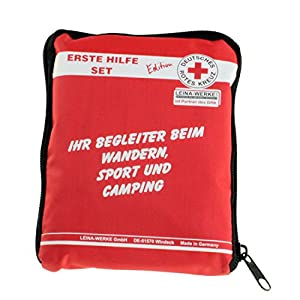 LEINA-WERKE 82110 Reisen und Freizeit Erste-Hilfe-Kit in einem Beutel, DRK (Rotes Kreuz) Ausgabe, Rot, 110 x 25 x 150 mm