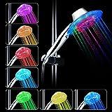 Ducha LED de luz, LEDGLE 7 cambia de color alcachofa de ducha con luz LED automáticamente, Ajustable flujo de agua, No Necesita Pilas