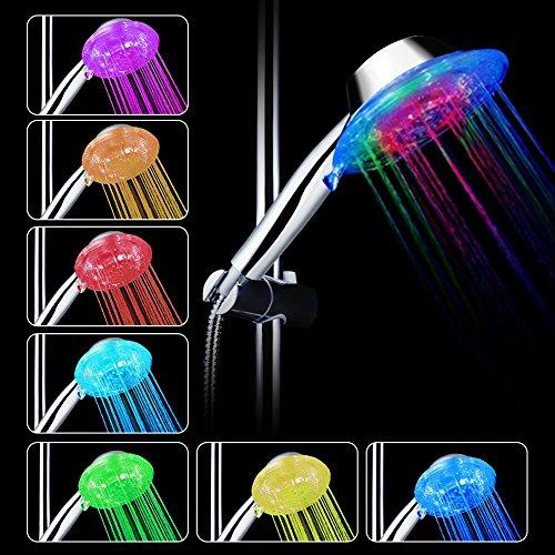 LED Handbrause Farbwechsel Duschkopf, 7 Farben, einfache Installation, einstellbare Wasserdurchfluss (Moderne Rost 4 Licht)