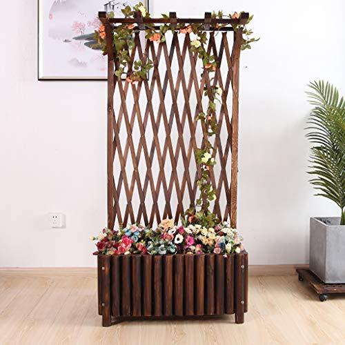 FPigSHS Massivholz Blumenkasten Blumenständer Klettergerüst Zaun Balkon Außenterrasse Klettergitter Blumentrog Kletterpflanze Blumenregal (Size : 75 * 38 * 117cm)