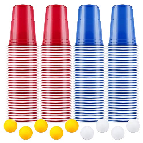 【100+10】BeerPong Partybecher Beer Pong Becher Plastikbecher Einwegbecher 480ml ( 16 OZ )Bier Pong Cups Party Becher | Wiederholbare Trinkbecher Camping Cocktail Bier Weihnachten Geburtstag Hochzeit -