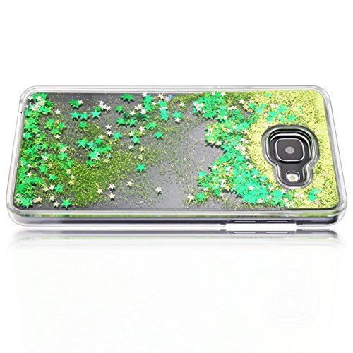 Samsung Galaxy A5 Custodia, Samsung Galaxy A5 2016 PC Back Cover in Plastica Trasparente 3D Glitter Scintillanti Stelle Quick and Mode Liquido Rigido Bling Della Stella Caso Transparent Sottile Anti S verde