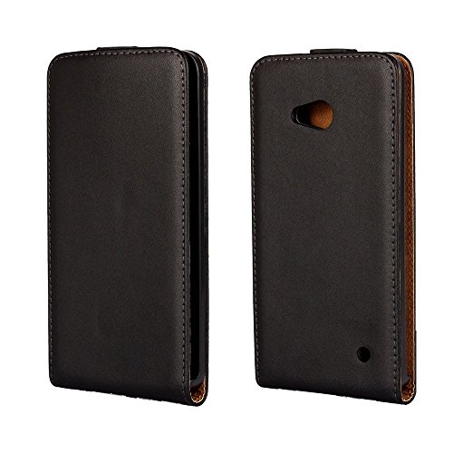 Vertical Genuine Split Leather Tasche Hüllen Schutzhülle for Microsoft Lumia 640 Dual Sim / 640 LTE - Black