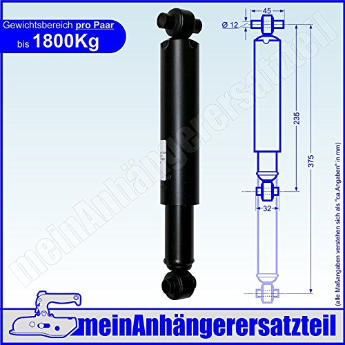 Uni Achsstoßdämpfer Radstoßdämpfer Stoßdämpfer bis 1800kg / Achse 235 / 375mm