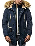 OZONEE Herren Winterjacke Wärmejacke Parka Parkajacke Militärstil Mantel Coat Jacke Sportjacke Kapuzenjacke 777/622K DUNKELBLAU L