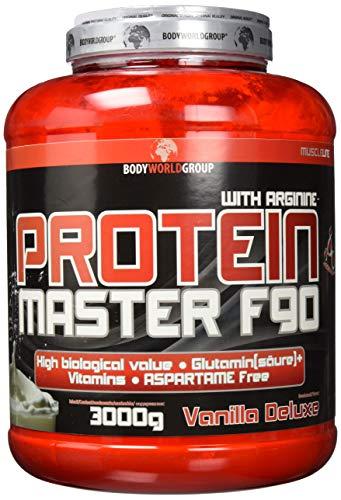 Formel-line (BWG Protein Master F90, Eiweißshake mit BCAA`S und Glutamin, Muskelaufbauphase, Deluxe Proteinshake Vanilla, Dose mit Dosierlöffel, Muscle Line, 1er Pack (1 x 3000g))