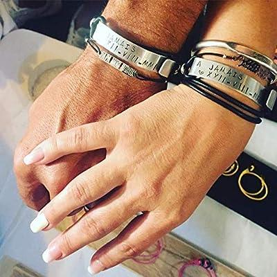 Bracelets gravés pour les couples. Cadeau de Saint Valentin personnalisé. Bracelets personnalisables en cuir. Duo bracelets pour les couples. Bracelets en cuir noir. Cadeau original pour homme.