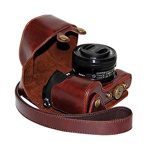 PU Leather Camera Case Bag Cover with Strap for Sony A6000/NEX 6 (with 16-50mm lens) / ILCE-6000L (Coffee) -
