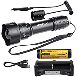 Evolva Future Technology 38mm T20 IR luz infrarroja linterna antorcha lente de visión nocturna por infrarrojos de luz de la linterna - La luz infrarroja es invisible al ojo humano - Para ser utilizado con dispositivos de visión nocturna (antorcha + batería + cargador + interruptor de presión)