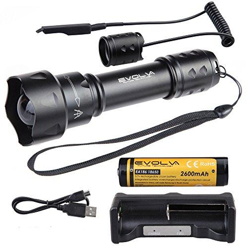 Evolva Future Technology T20 IR 38mm Objektiv Infrarot-Licht-Nachtsicht -Taschenlampe -Um mit Nachtsicht -Gerät verwendet werden (Infrarot-Licht ist unsichtbar für das menschliche Auge) (Taschenlampe + Batterie+ Ladegerät+Pressure Switch)