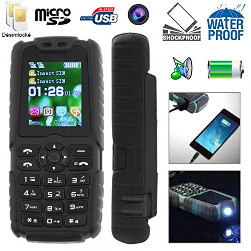 photo Téléphone mobile tout terrain waterproof antichoc lampe torche Noir
