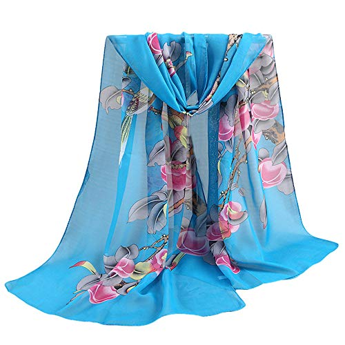 Lenfesh Bufandas seda Mujeres Fular seda Floral Estampado