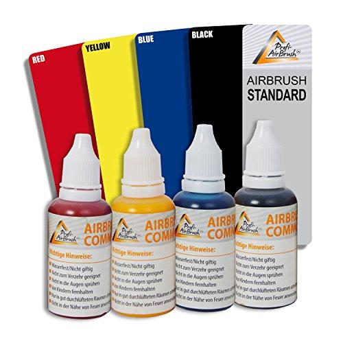 AIRBRUSH-SET: 4er-Airbrush Farben Set – zur kreativen Erstellung von AIRBRUSH-TATTOOS und AIRBRUSH-KÖRPERBEMALUNG mit Airbrush-Kompressor und Airbrush-Pistole