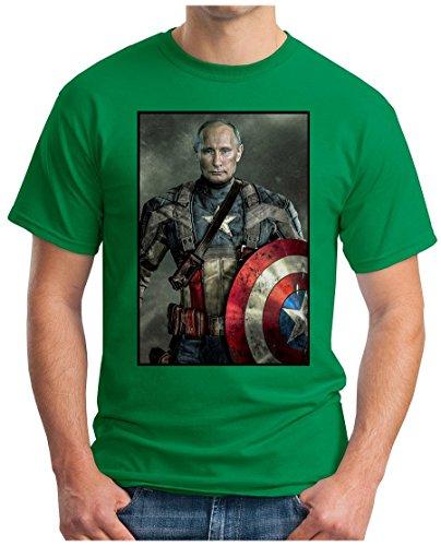 OM3 - PUTIN CAPTAIN AMERICA - T-Shirt RUSSLAND USA COLD WAR MIG MIR MAFIA DOPE FUN PARODIE GEEK, S - 5XL Grün