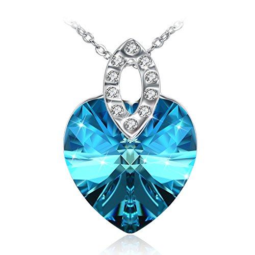 Collana donna fairy season cuore ciondolo con oceano blu cristalli di swarovski pendente gioielli confezione regalo idee regalo donna