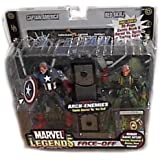 Marvel Legends 2006 - 2-Pack - Serie 1 - FACE-OFF – Arch-Enemies - CAPTAIN AMERICA Vs. RED SKULL - VARIANTE - mit 32 Seiten Comic - Diorama Backdrop - Display Base & EXCLUSIVE TRADING CARD - Marvel Vs. System - OVP