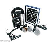 tradeshoptraesio®–Kit Energía Solar Panel linterna batería lámpara bombilla led usb Camping