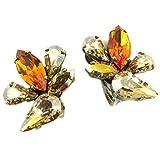 Lily-Crystal [P5551] - Clips d'oreilles artisanales 'Mythique Syracuse' ambre champagne doré - 25x20 mm