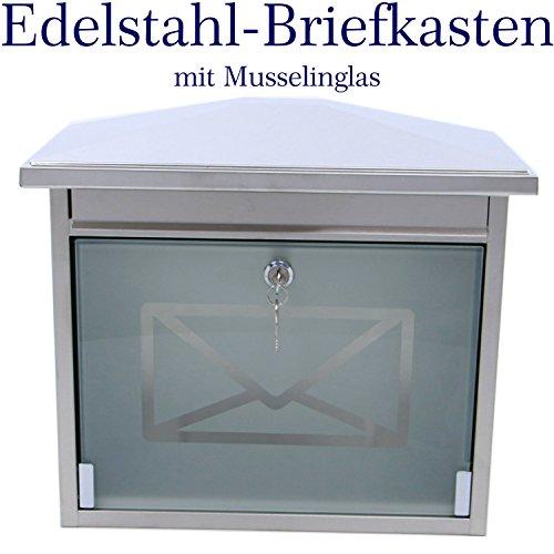Made for us Edelstahl Briefkasten mit extralangem Briefschlitz für Zeitungen & Kataloge, mit geätztem Musselinglas