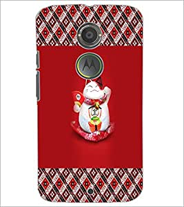 PrintDhaba Happy Kitty D-5672 Back Case Cover for MOTOROLA MOTO X2 (Multi-Coloured)