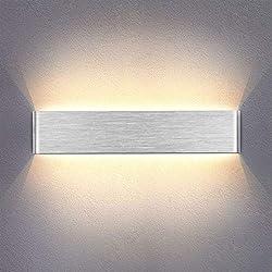 Yafido Apliques Pared Interior LED 14W Lámpara de pared Moderna Blanco Cálido Plata Cepillado Perfecto para Salon Dormitorio Sala Pasillo Escalera 40CM