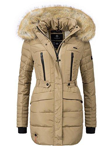 Marikoo Damen Winter Mantel Steppmantel Nova (vegan hergestellt) Beige Gr. M
