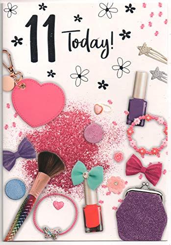 Geburtstagskarte für elf (11 Jahre) altes Mädchen - kostenlose 1. Klasse Post (UK) (Ein Mädchen Elf)