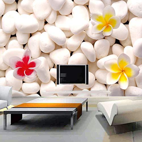 Hhcyy 3D Wandbild Sofa Tv Hintergrund Benutzerdefinierte Wandbilder Schlafzimmer Vliesstoff Weiß Kopfsteinpflaume Blume 3D Fototapeten-120cmx100cm
