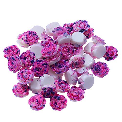 Demiawaking Cristal Perles en Strass Autocollants Accessoires de Bijoux Blanche Bricolage Colliers 50pcs / lot 13mm Résine Rose Fleur Fond Plat Bricolage Décor (Violet)