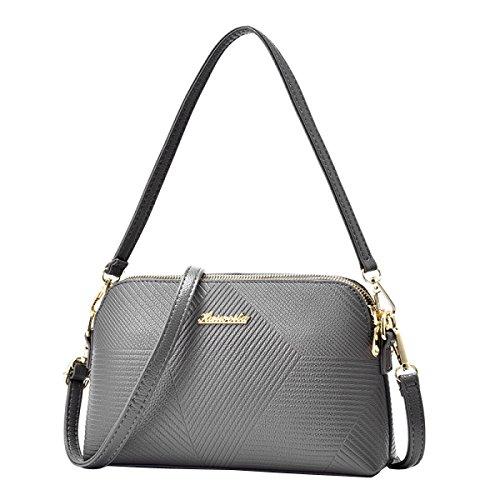 PU-Leder-Handtasche Frau Tragbaren MeiZiWangMeiZiWang Grey