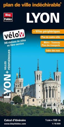 Plan de Lyon + villes périphériques : 1/15 500 - Carte indéchirable