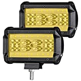 YGL 2 x 28LED Montaje de Luces de Antiniebla IP67 Impermeable Led Foco Lampara de Coche 12V/24V(Amarillo)