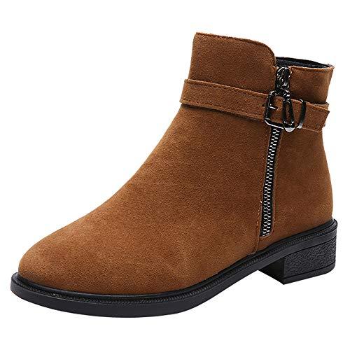 Fenverk Damen Stiefeletten Worker Boots Mit Blockabsatz Metallic Profilsohle GefüTtert Schneestiefel Bequeme Schuhe Outdoor Sneaker Stiefel(Braun,37/37.5EU)