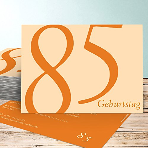 Einladungskarten Geburtstag Blanko, Meine Achtzig Fünf 25 Karten, Horizontal einfach 148x105 inkl. weiße Umschläge, Orange